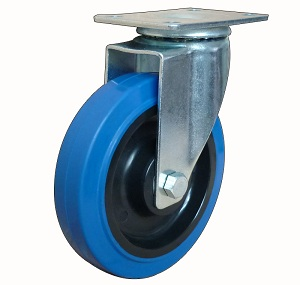 Medium duty blue elastic rubber swivel caster